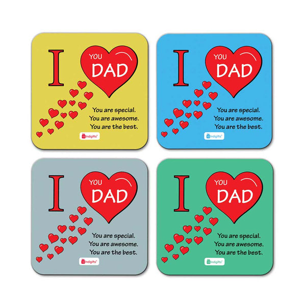 I Love You Dad Quote Waving Hearts Pattern Multicolor Coasters