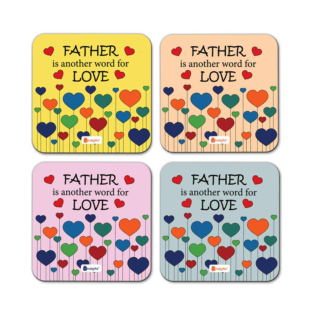 Father is another name of Love Quote Heart Balloon Pattern Multicolor Coasters