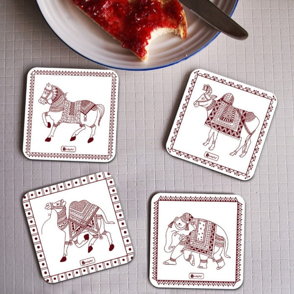 Coasters Set of 4 for Office and Home - Animal Print Ethnic Print Tea Coffee Coasters for Dining Table, Printed Square 4 Coaster for Decoration and Gifts