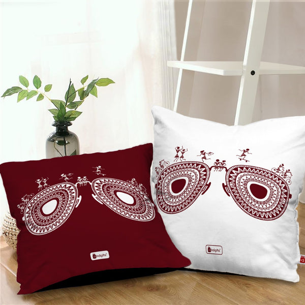 Cushion Covers Travellers Themed Warli Art Digitally Printed Pillows Set Of 2 With Filler - Diwali Decoration For Home, Gift For Traveller Friend, Ethnic Print Cushion