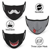 3-Layer Reusable Protective Mask - Pack of 3 Quirky Printed Facial Expression