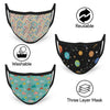 3-Layer Reusable Protective Mask - Pack of 3 Funky Printed Abstracts