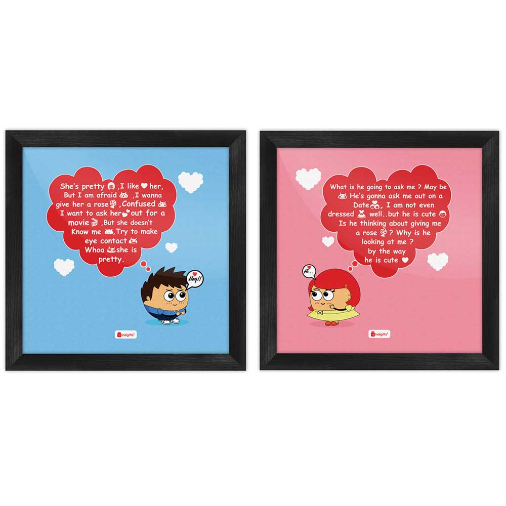 Indigifts Love Quote Teenagers Love Thoughts Multi Poster Frames Set of 2
