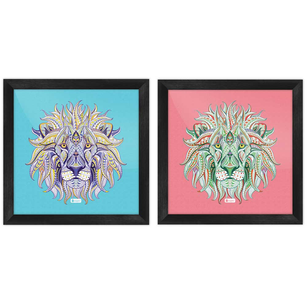 Ornamental Lion Illustration Poster Frame Set of 2