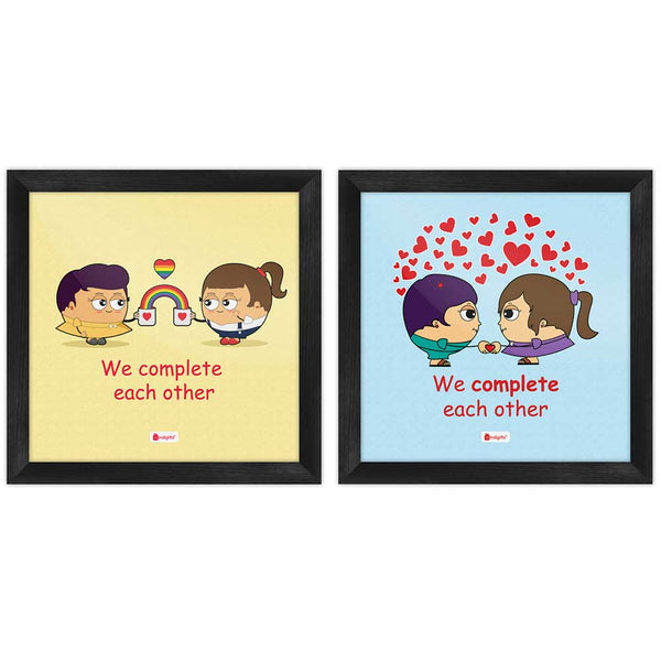 We Complete Each Other Quote Lesbian Couple Illustration Multi Poster Frames Set of 2