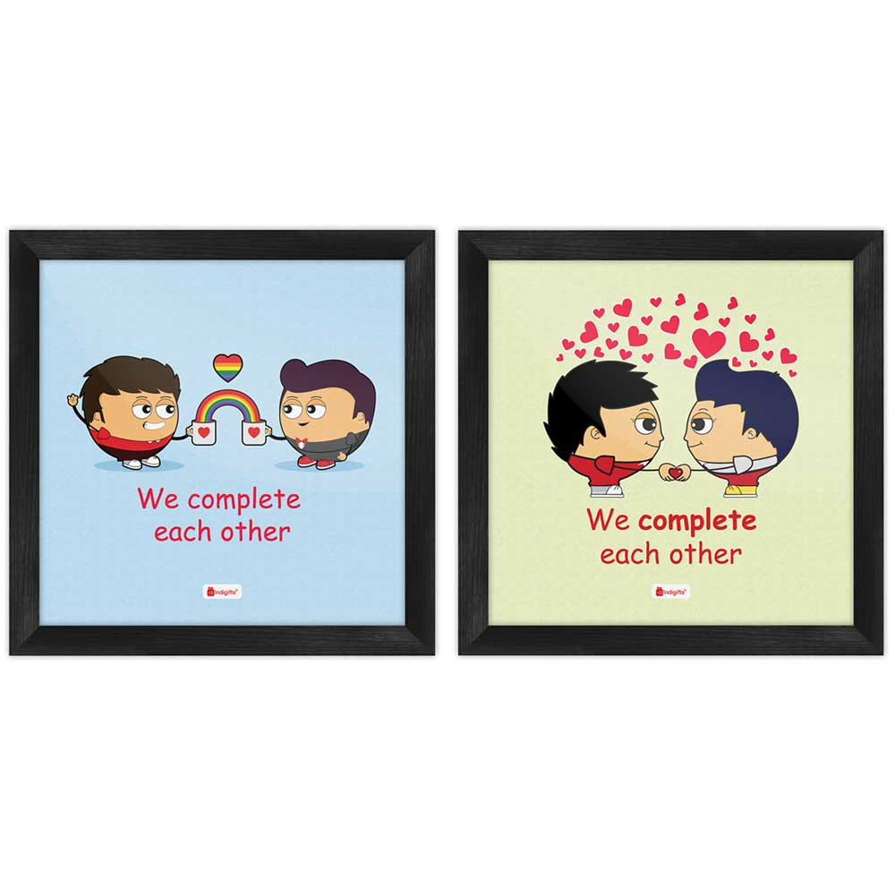 Indigifts We Complete Each Other Quote Gay Couple Illustration Multi Poster Frames Set of 2