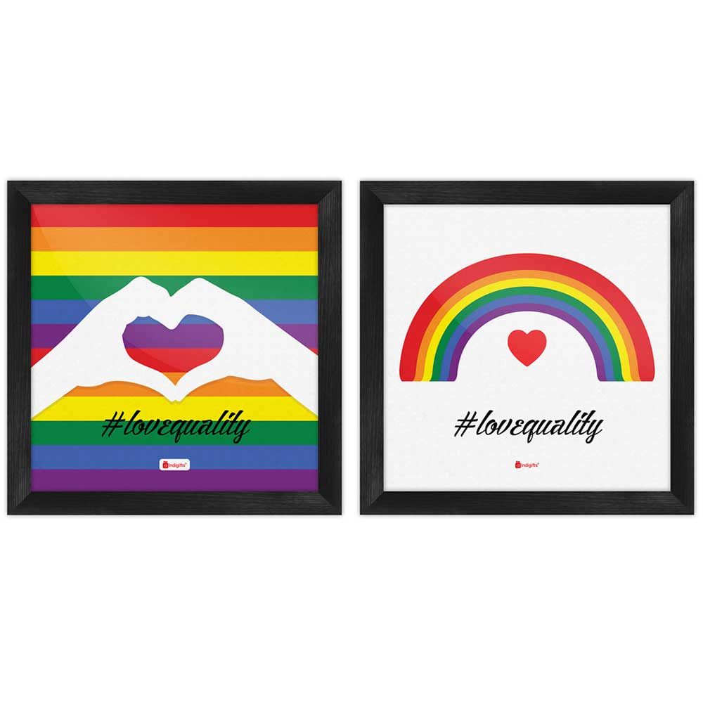 Indigifts Love Equality Quote Colourful Rainbow Multi Poster Frames Set of 2
