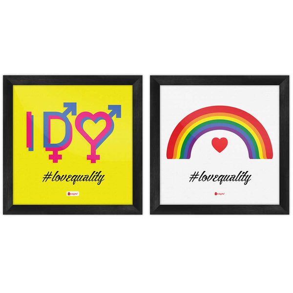 Love Equality Quote Symbolic Colourful Expression Multi Poster Frames Set of 2