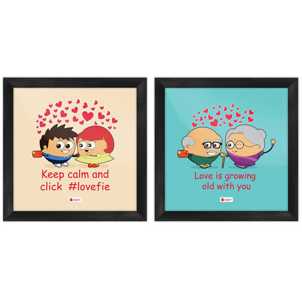 Indigifts Love Quote Cute Couple Taking Selfie Multi Poster Frames Set of 2