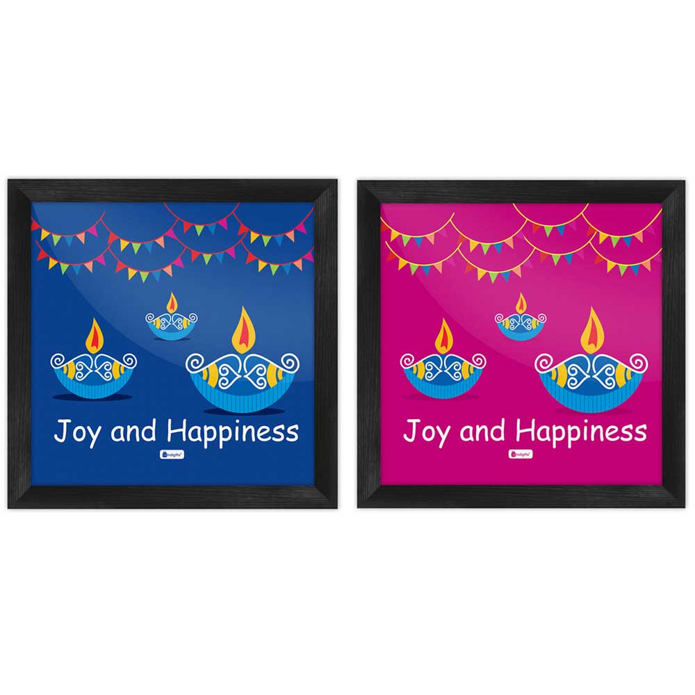 Indigifts Traditional Lighting Diya with Party Bunting Flags Poster Frame Set of 2