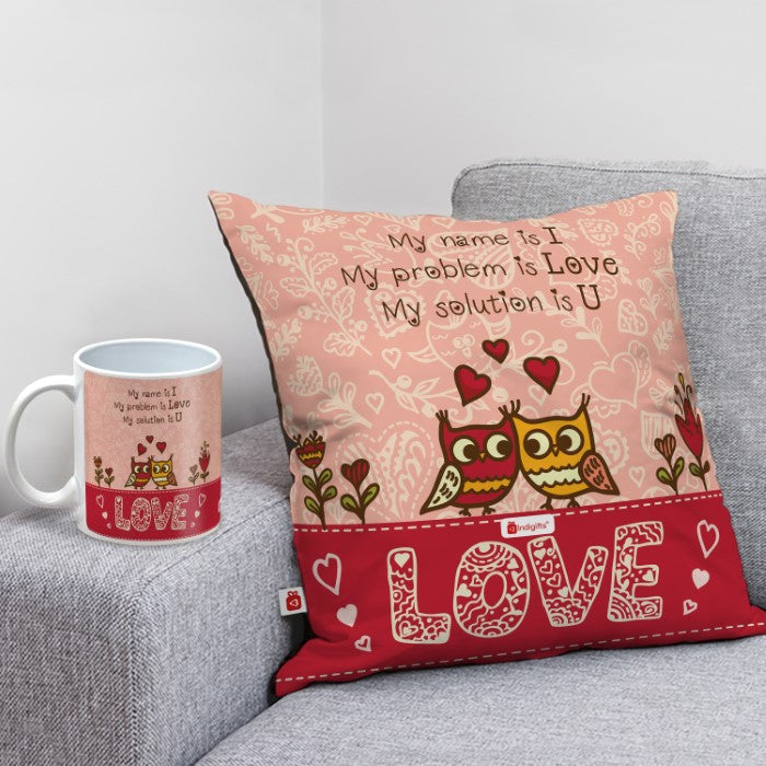 Indigifts Best gift for love. Cushion and Coffee mug combo for valentine gift, anniversary gifts, birthday gift.