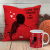 Indigifts I Love you Forever and Ever Valentine's Day Fabric Cushion and Mug