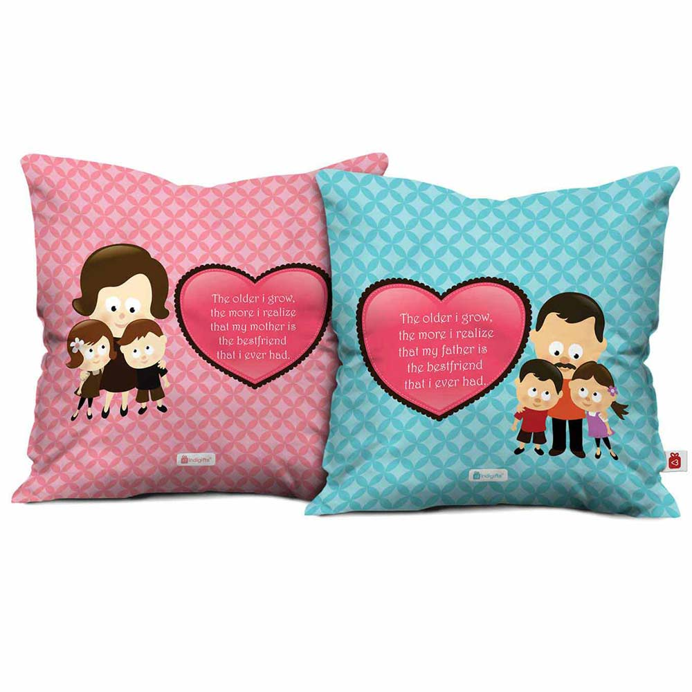 Indigifts Parents Are Best Friend Cushion Cover Set of 2