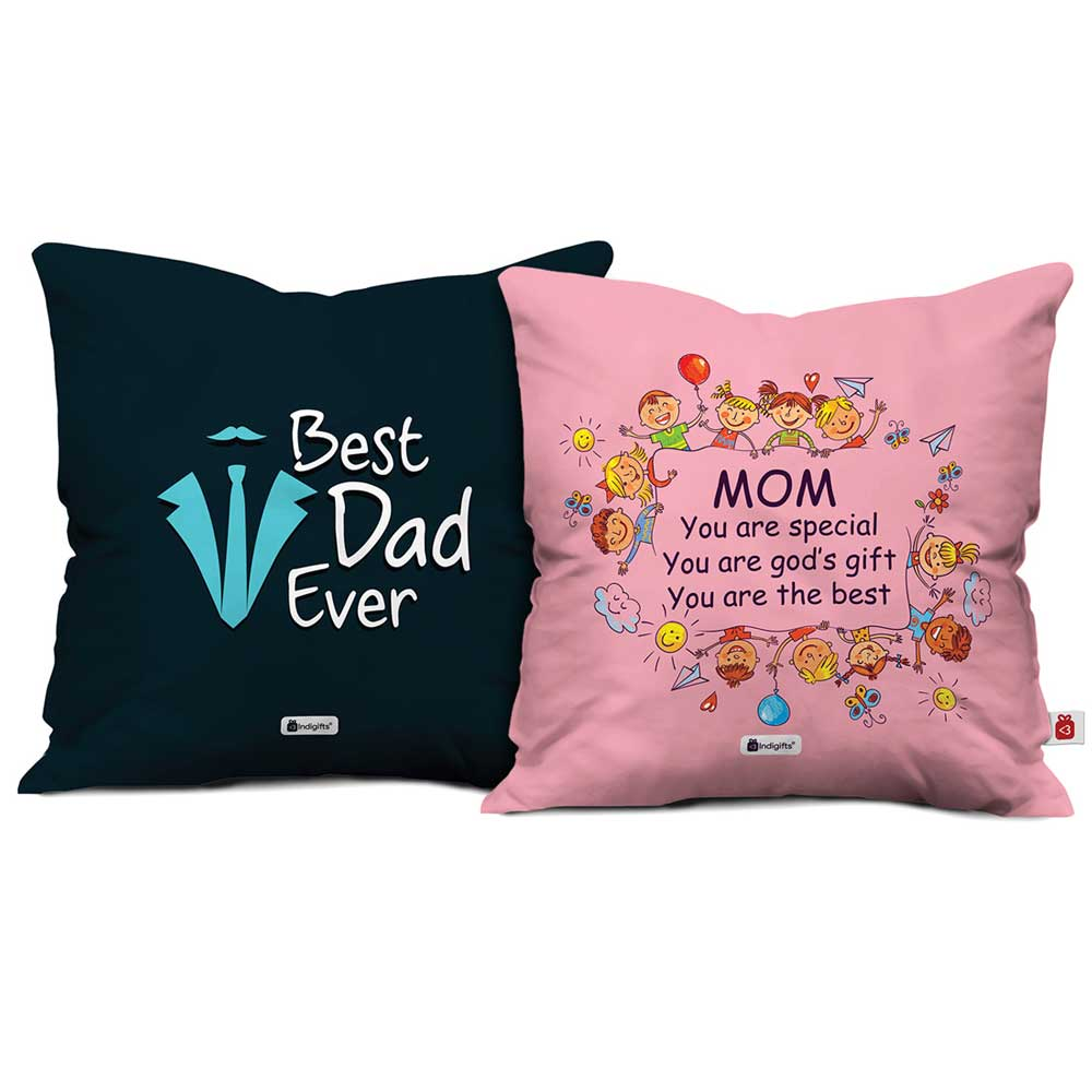 Mom Special God's Gift & Best Dad Ever Cushion Cover set of 2