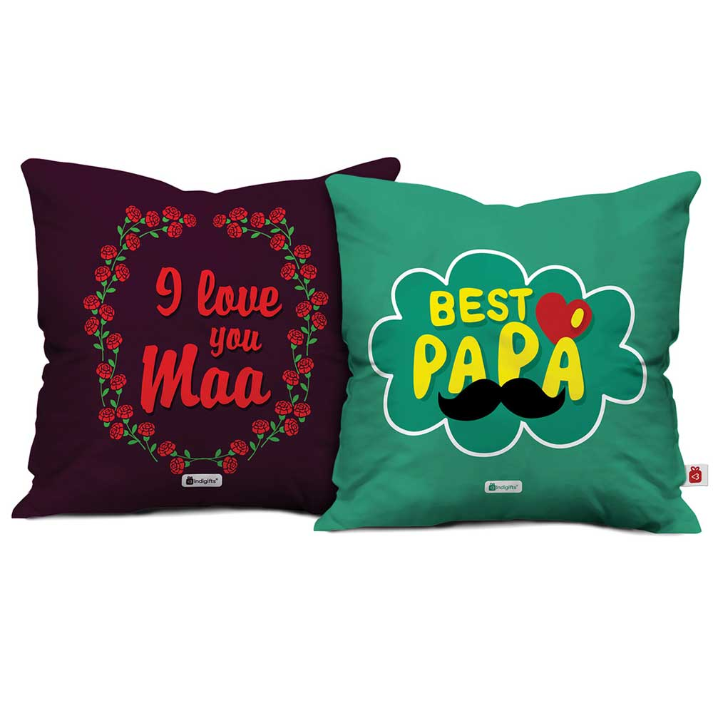 Indigifts I Love You Maa & Best Papa Cushion Cover set of 2