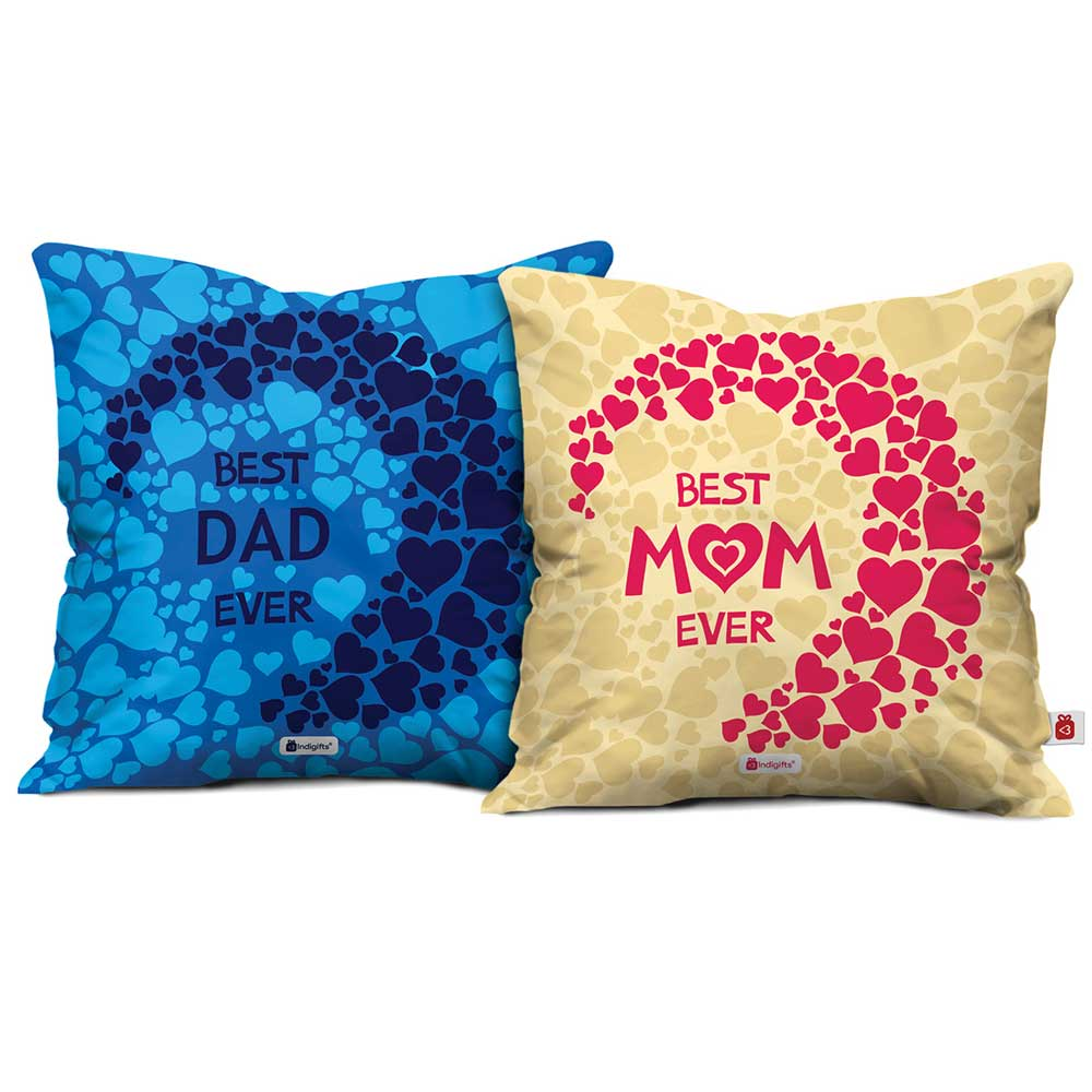Indigifts Best Mom Dad Ever Cushion Cover Set Of 2