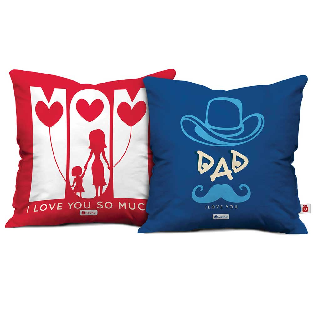 Indigifts Mom I Love You So Much & Dad I Love You Cushion Cover set of 2