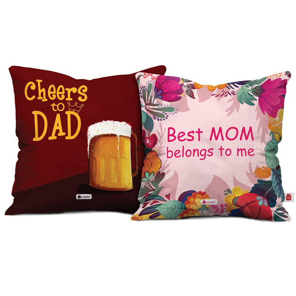 Indigifts Best Mom & Cheers To Dad Cushion Cover Set Of 2