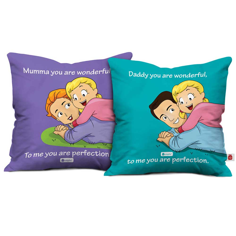 Indigifts Mumma Daddy You Are Wonderful Cushion Cover Set Of 2