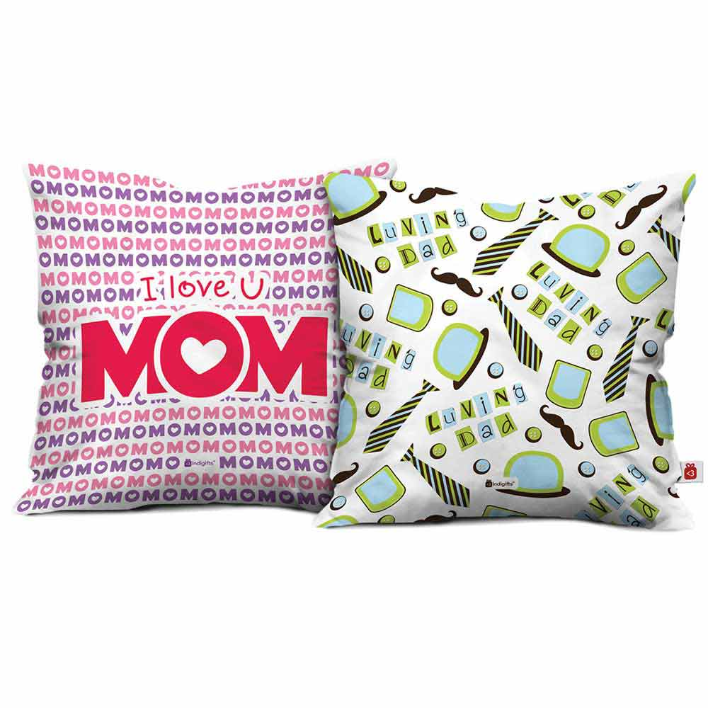 Indigifts I Love Mom & Luving Dad Cushion Cover set of 2