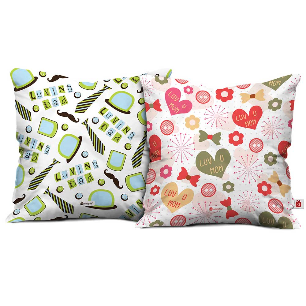Indigifts Luv You Mom & Loving Dad Cushion Cover set of 2