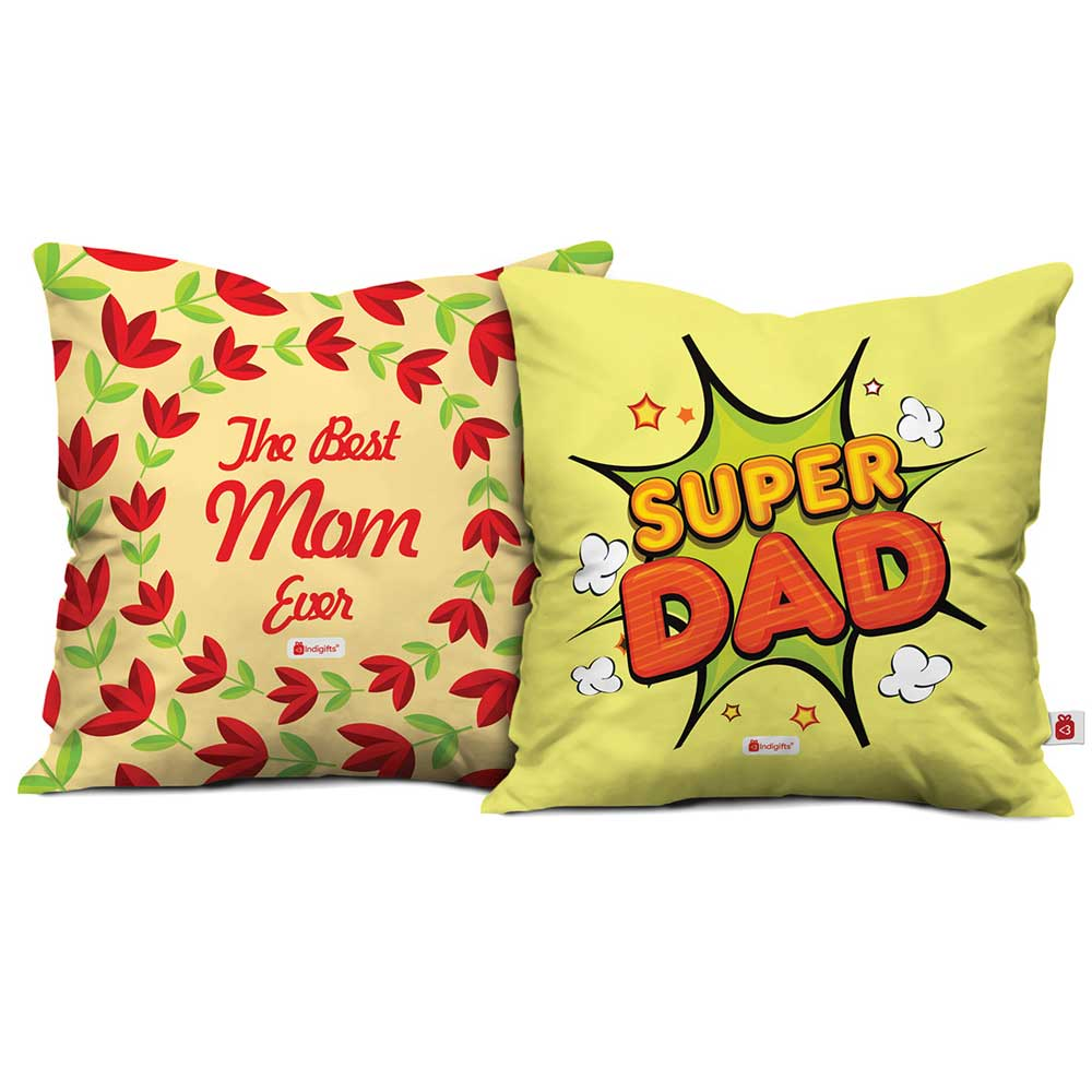 Best Mom & Super Dad Cushion Cover Set of 2