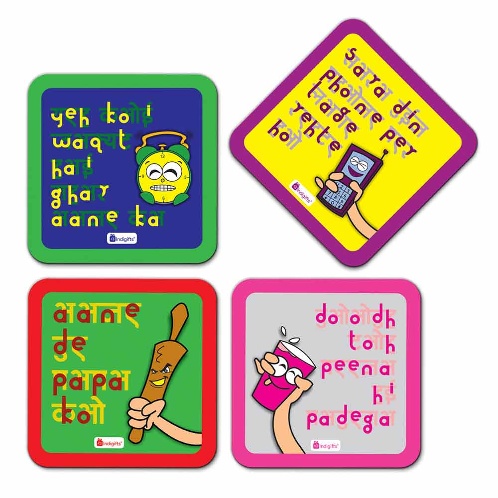 Indigifts Mummy ke Dialogue Set of 4 Attractive Coasters