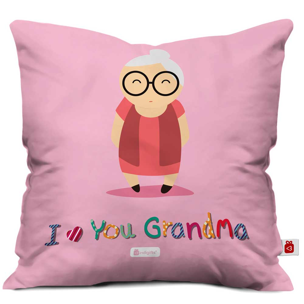 Indigifts Cute Grandma Portray Pink Cushion Cover