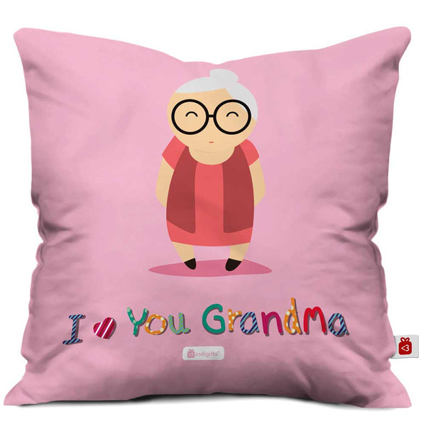 Cute Grandma Portray Pink Cushion Cover
