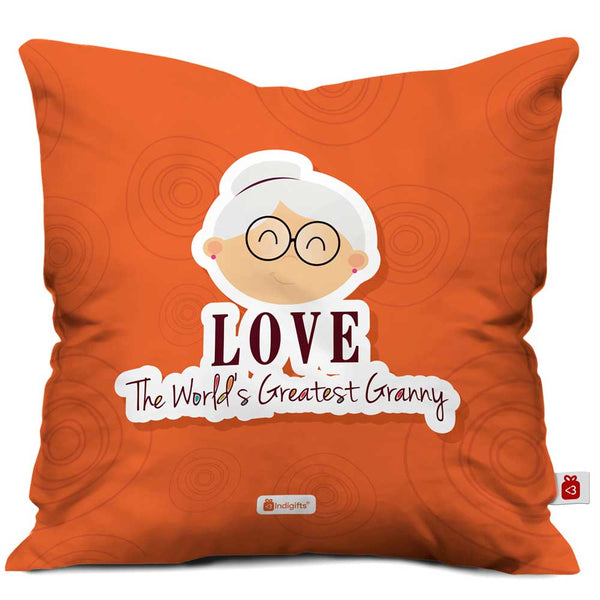 Cute Grandma's Face Illustration Orange Cushion Cover