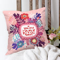 Indigifts You are in my Heart Quote Colorful Flowers Bunch Doodle Pink Cushion Cover