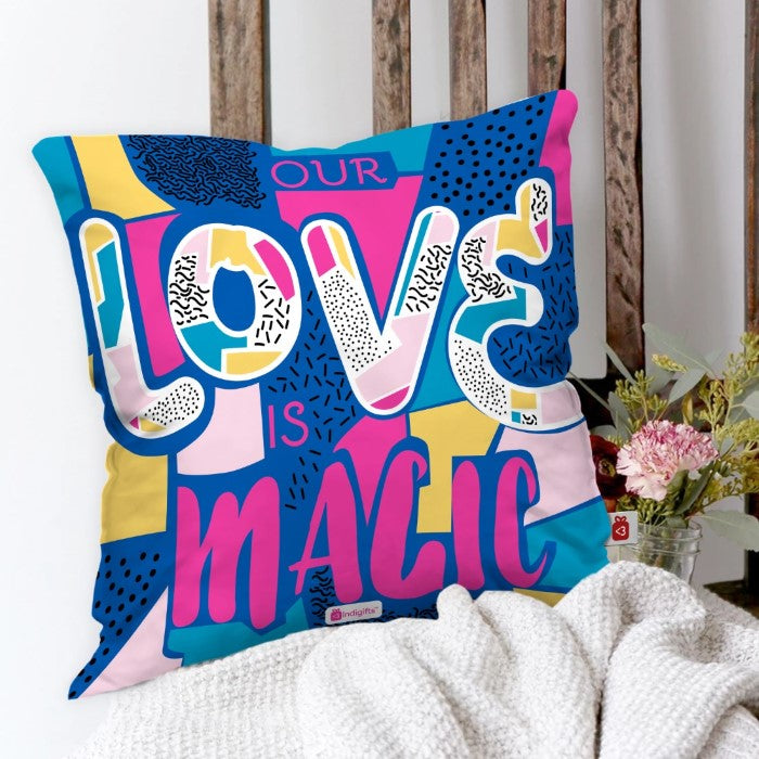 Indigifts Our Love Is Magic Quote Bright Colourful Illustration Multi Cushion Cover