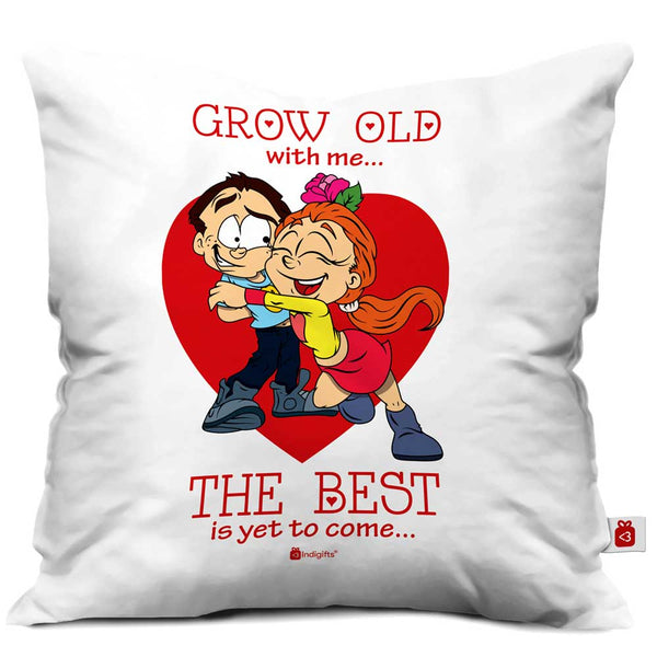 Young Couple In Love White Cushion Cover