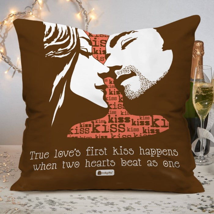 Indigifts True Love Happens When Two Hearts Beat As One Quote First Kiss Of A Young Couple Illustration Brown Cushion Cover