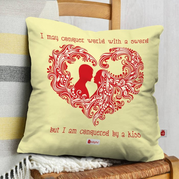 Indigifts Silhouette of A Couple Beige Cushion Cover