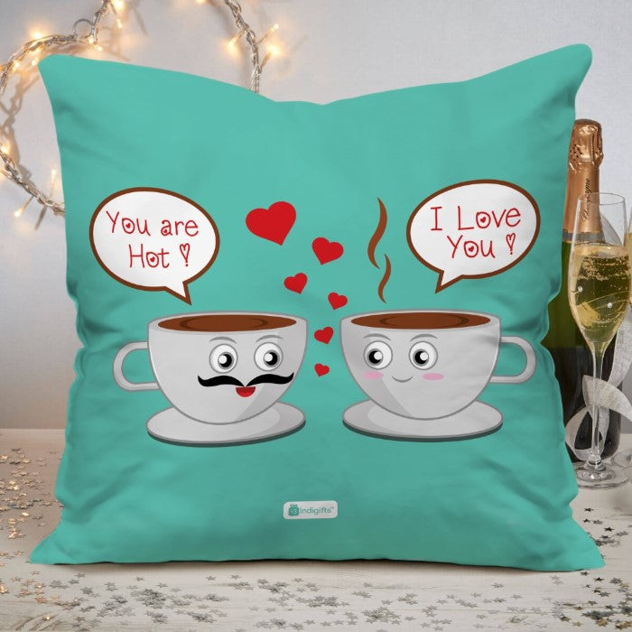 Indigifts Romantic Dialogues Between Coffee Cups Blue Cushion Cover