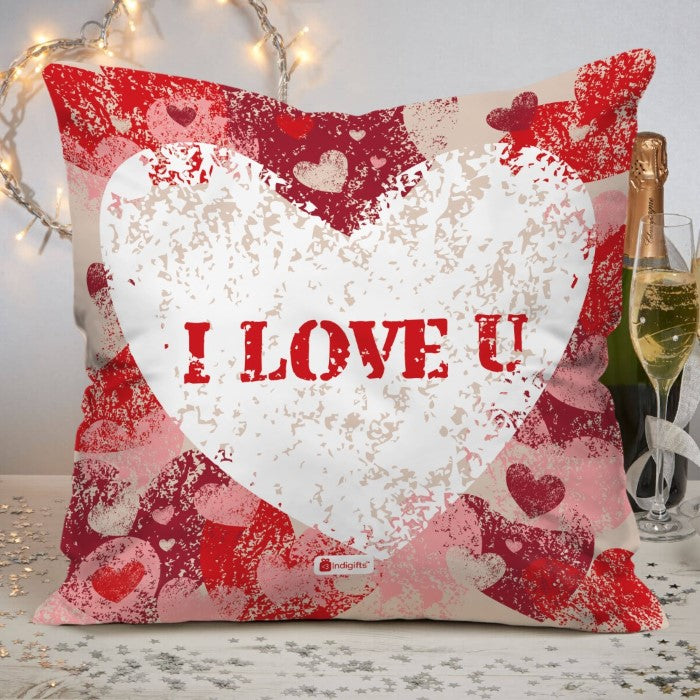 Indigifts Textured Painted Hearts Pink Cushion Cover