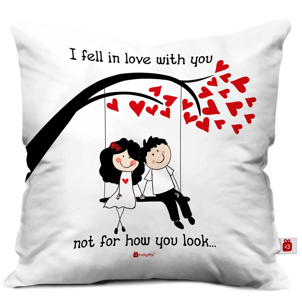 Romantic Couple On A Swing White Cushion Cover