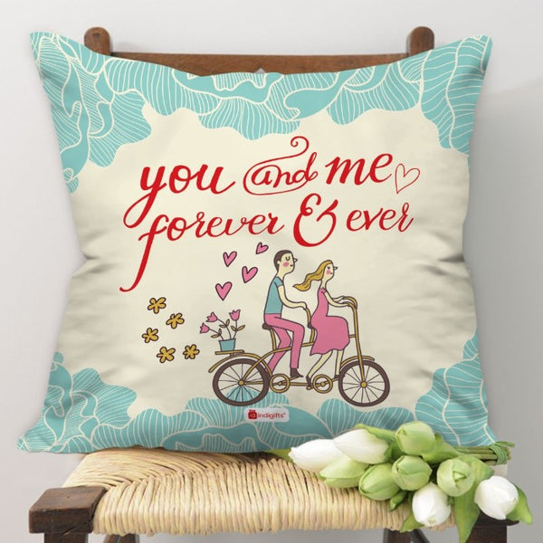 Indigifts Young Couple Riding On A Bicycle White Cushion Cover