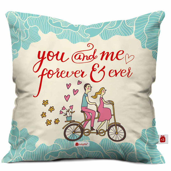 Young Couple Riding On A Bicycle White Cushion Cover