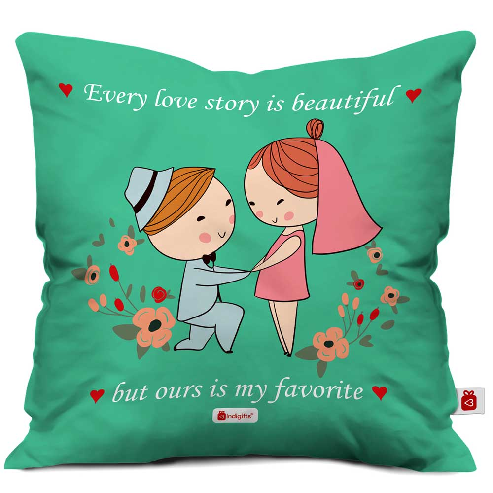 Man Proposing To A Woman Green Cushion Cover