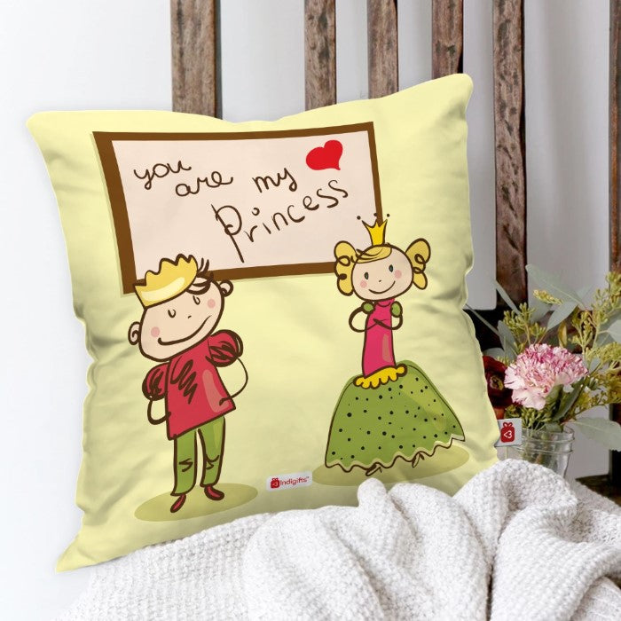 Indigifts Couple Dressed In Royal Attire White Cushion Cover
