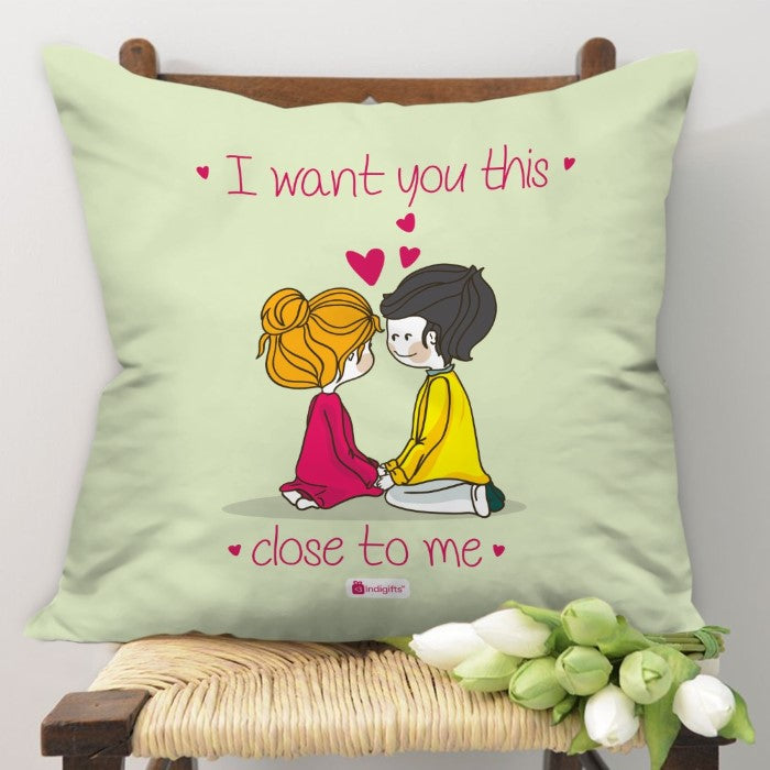 Indigifts Romantic Couple Expressing Love Beige Cushion Cover