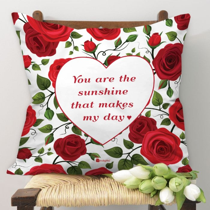 Indigifts Red Roses with Leaves and Buds Seamless Pattern Multi Cushion Cover