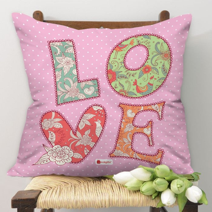 Indigifts LOVE Quote Colourful Hand Drawn Textile Font. Patchwork Style Pink Cushion Cover