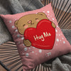 Indigifts Heart Holding Cute Teddy Pink Cushion Cover