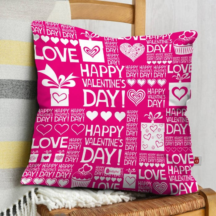 Indigifts Valentine Seamless Pattern Pink Cushion Cover