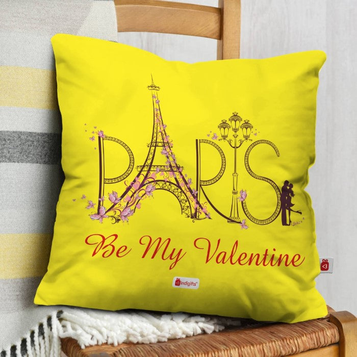 Indigifts Couple Kissing Love At Eiffel Tower Yellow Cushion Cover