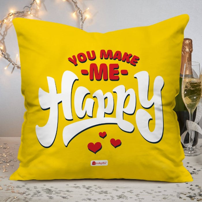 Indigifts You Make Me Happy Quote Yellow Cushion Cover