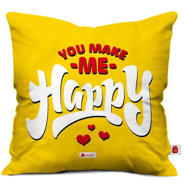 You Make Me Happy Quote Yellow Cushion Cover